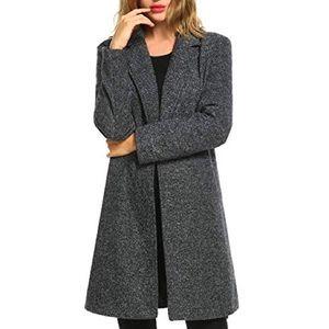 Gray peacoat + pockets tweed grey